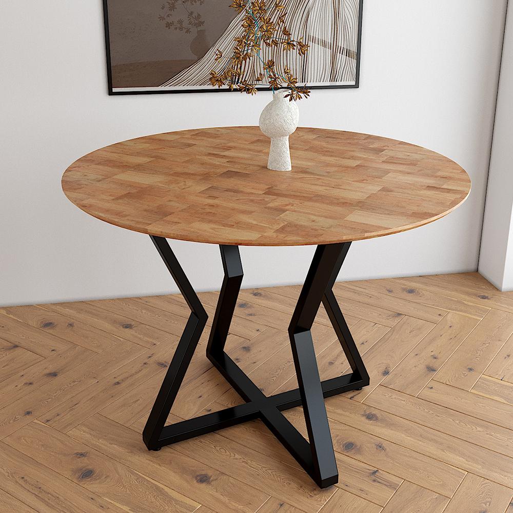 Mẫu bàn ăn tròn gỗ cao su chân sắt