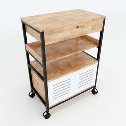 Kệ bếp di động CHIKA khung sắt gỗ cao su ( 60x36x80cm) KB68015