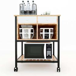 Kệ bếp di động TOMA khung sắt gỗ mặt gỗ tre (68x50x80cm) KB68016