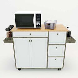 Kệ bếp di động KONA3 mặt gỗ tre (120x40x80cm) KB68017