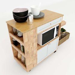 Kệ bếp di động mặt gỗ tre (80x40x80cm) KB68021