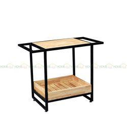 Bàn đảo bếp kết hợp kệ để đồ đa năng màu đen - 95x50x75 (cm) KIS68003