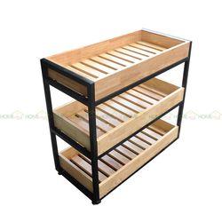 Kệ để đồ nhà bếp gỗ Kitchenshel có bánh xe 80x40x80(cm) KB68004