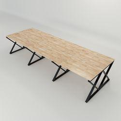 Bàn cụm 6 120x360cm gỗ cao su hệ XConcept lắp ráp HBXC009