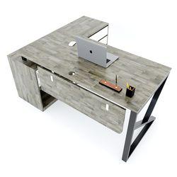 Bàn giám đốc 160x140 (mặt bàn 70cm) gỗ cao su hệ KConcept chân sắt lắp ráp HBKC020