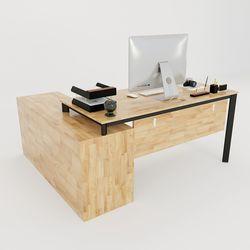 Bàn giám đốc 170x150cm gỗ cao su hệ Oval Concept lắp ráp HBOV021