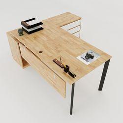 Bàn giám đốc 180x160cm gỗ cao su hệ Oval Concept lắp ráp HBOV022