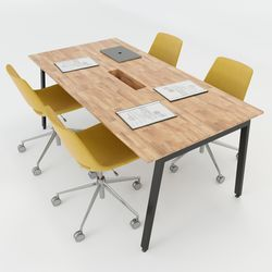 Bàn họp 180x90cm gỗ cao su hệ Aton Concept chân sắt lắp ráp HBAT010