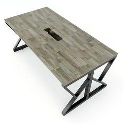 Bàn họp nhỏ 180x90cm gỗ cao su hệ KConcept chân sắt lắp ráp HBKC008