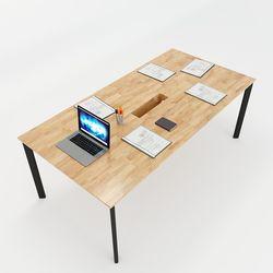 Bàn họp 200x100cm gỗ cao su hệ Oval Concept lắp ráp HBOV010