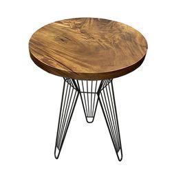 Bàn cafe gỗ me tây tròn 60cm dày 5cm chân sắt HDMT023
