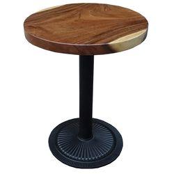 Bàn cafe gỗ me tây tròn 60cm dày 5cm chân sắt đế gang đúc HDMT024