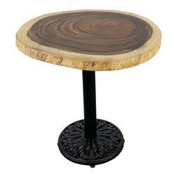 Bàn cafe gỗ Me Tây Nguyên Tấm tròn dày 5cm chân gang HDMT042