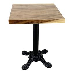 Bàn cafe vuông gỗ me tây dày 5 cm chân gang đúc 4 chĩa HDMT036