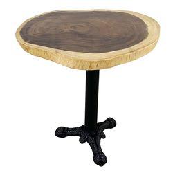Bàn Cafe gỗ me tây dày 5cm chân gang đúc 3 chĩa HDMT035
