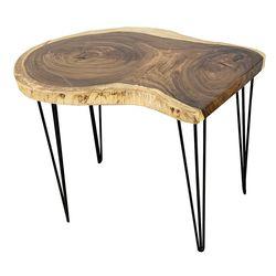 Bàn gỗ Me Tây nguyên tấm dày 5cm chân Hairpin HDMT043