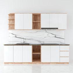 Bộ hệ tủ bếp gỗ cao su chống ẩm (không bao gồm mặt đá và bồn rửa) HDTB002