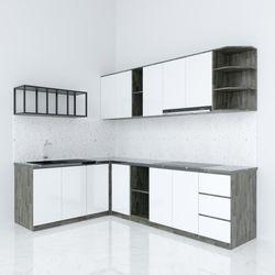 Hệ tủ bếp chữ L gỗ cao su chống ẩm ( không bao gồm mặt đá và bồn rửa) HDTB004