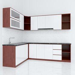 Hệ tủ bếp chữ L gỗ cao su hiện đại ( không bao gồm mặt đá và bồn rửa) HDTB005