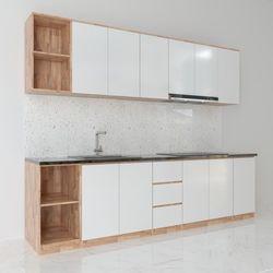 Hệ tủ bếp hiện đại gỗ cao su ( không bao gồm mặt đá và bồn rửa) HDTB003