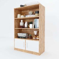 Tủ kệ hồ sơ có ngăn cửa tủ gỗ cao su 80x40x120 (cm) HDTHS004