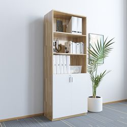 Tủ hồ sơ gỗ cao su cao 5 tầng có cửa khóa 80x40x220cm HDTHS010