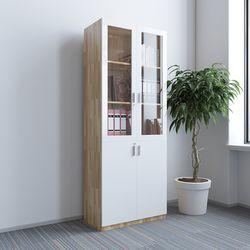 Tủ hồ sơ cao gỗ cao su cửa kính 5 tầng 80x40x220c) HDTHS012