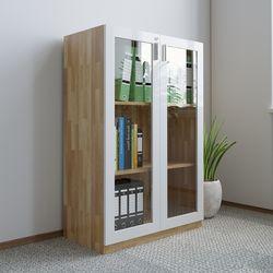 Tủ hồ sơ cao 120cm 3 tầng gỗ cao su cửa kính HDTHS015