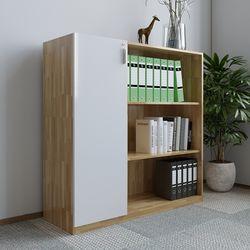 Tủ kệ hồ sơ 120x120cm 3 tầng kệ gỗ cao su 1 bên cửa HDTHS016