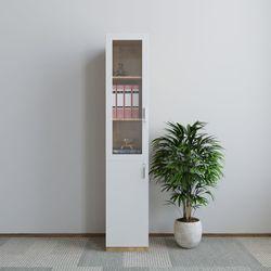 Tủ hồ sơ 40x40x220cm gỗ cao su có cửa kính HDTHS018