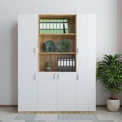 Tủ hồ sơ 3 cụm 160x40x220cm gỗ cao su cửa trắng HDTHS021