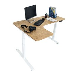 Bàn FlexiCorner 110x160cm gỗ cao su 3 khớp chỉnh điện HD2A3S_A1