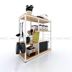 Kệ để đồ trong nhà bếp bằng gỗ khung sắt hiện đại 40x100x100(cm) HDKB002