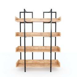 Kệ CARINA 4 tầng gỗ cao su kết hợp khung sắt 100x32x136cm HDKS087