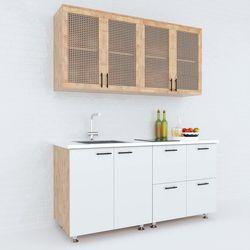 Hệ tủ bếp mini hiện đại 1m6 nhiều ngăn gỗ cao su chống ẩm HDBTB68015