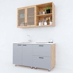 Hệ tủ bếp mini gỗ cao su 1m2 cửa tủ lưới mây HDBTB68010