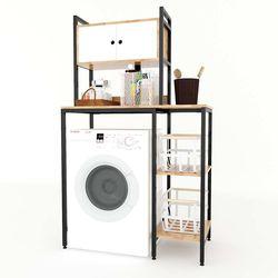 Kệ máy giặt có hộc tủ gỗ cao su khung sắt HDKMG68004