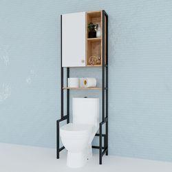 Kệ Toilet gỗ Cao Su khung sắt có tủ HDKTL001