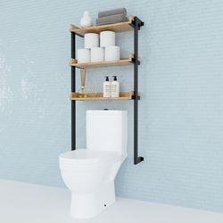 Kệ Toilet treo tường gỗ Cao Su khung sắt HDKTL002