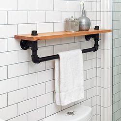 Giá treo khăn nhà tắm bằng ống nước kết hợp kệ để đồ - 80x20 (cm) HDKPT68001
