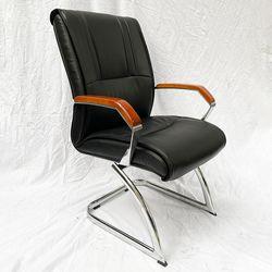 Ghế chân quỳ nệm bọc simili tay viền gỗ sang trọng HDMF180B
