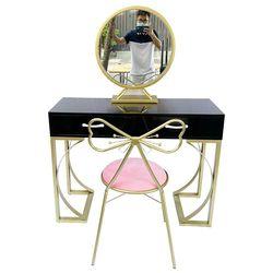 Bộ bàn trang điểm ghế nơ nệm hồng BTD68054
