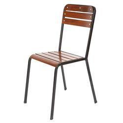 Ghế cafe khung sắt gỗ ngoài trời có thể xếp chồng GCF080