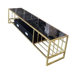 Kệ Tivi  180cm 2 ngăn kéo mặt đá đen khung sắt vàng đồng KTV68064