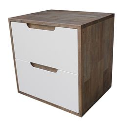 Tủ đầu giường 2 ngăn kéo màu nâu lau 50x40x50cm HDTDG68023