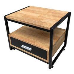 Tủ đầu giường khung sắt gỗ cao su (50x40x40cm) HDTDG68011