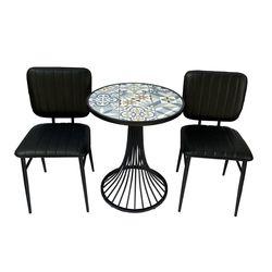 Bộ Bàn cafe tròn mặt bàn gạch men chân sơn tĩnh điện  HDBCF003