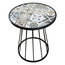 Bàn cafe mặt bàn gạch men chân sắt cổ lọ CFD68085