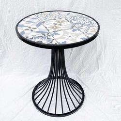 Bàn cafe tròn mặt bàn gạch men chân sơn tĩnh điện CFD68087
