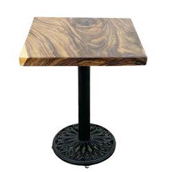 Bàn cafe vuông gỗ me tây dày 5 cm chân gang BMT055